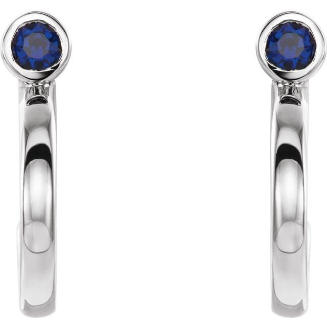 14K White 2 mm Round Blue Sapphire Bezel-Set Hoop Earrings