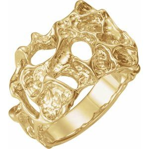 14K Yellow 18 mm Men-s Nugget Ring