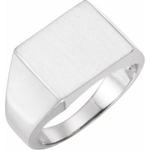 Sterling Silver 13.5x13 mm Square Signet Ring