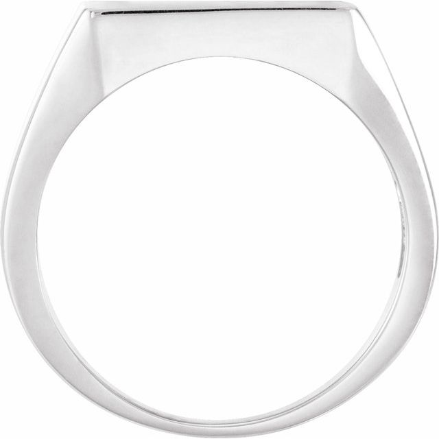 14K White 13.5x13 mm Square Signet Ring