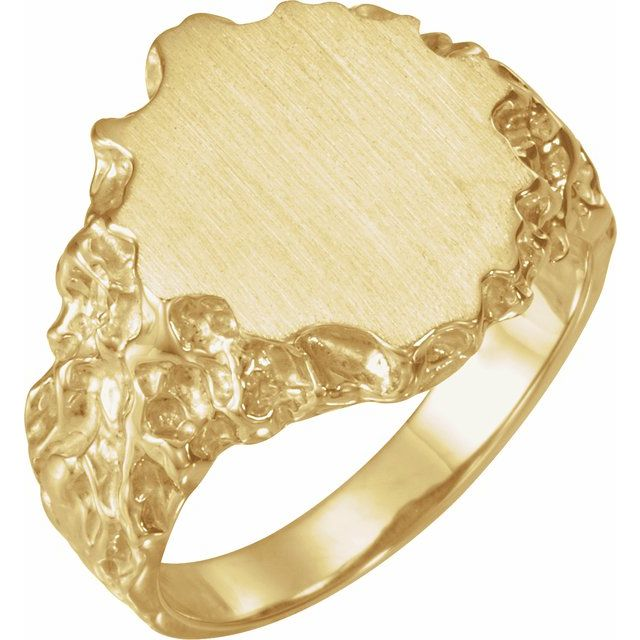 14K Yellow 16x14 mm Oval Nugget Signet Ring