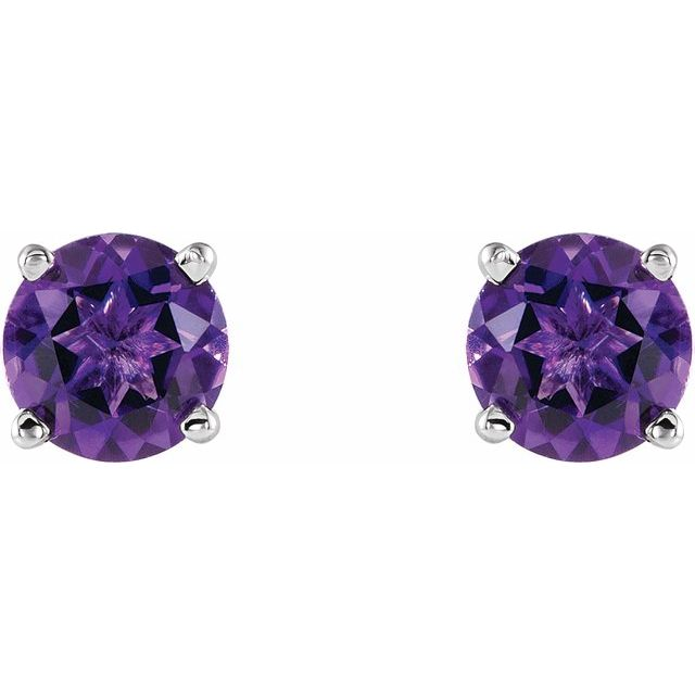 14K White 5 mm Round Amethyst Earrings