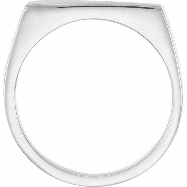 14K White 15x9 mm Rectangle Signet Ring
