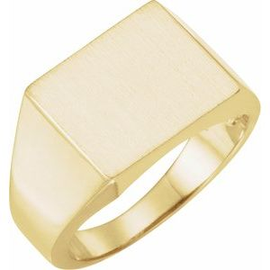 14K Yellow 13.5x13 mm Square Signet Ring