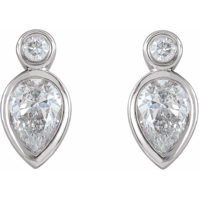 Platinum 1/3 CTW Diamond Bezel-Set Earrings