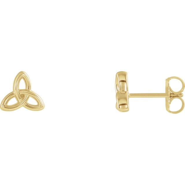 14K Yellow Celtic-Inspired Trinity Earrings