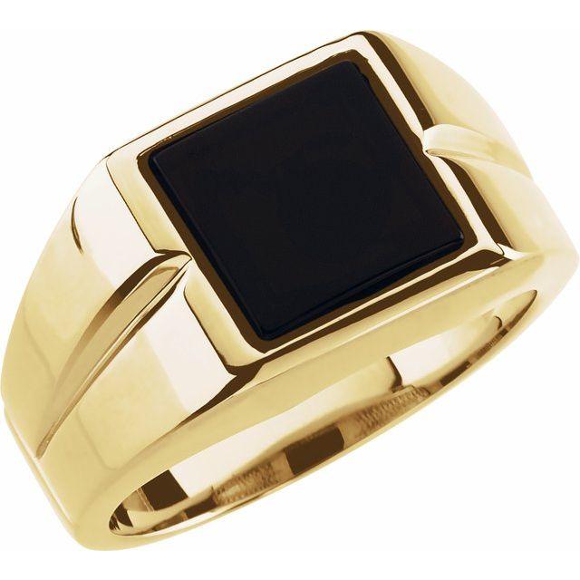 14K Yellow 10 mm Square Onyx Ring