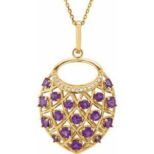 "14K Yellow Amethyst & .04 CTW Diamond Nest 18"" Necklace"