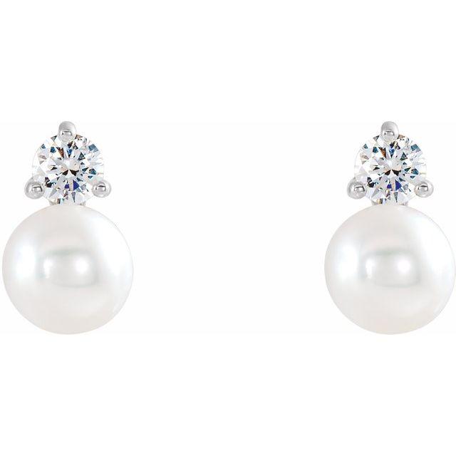14K White Freshwater Cultured Pearl & 1/5 CTW Diamond Earrings
