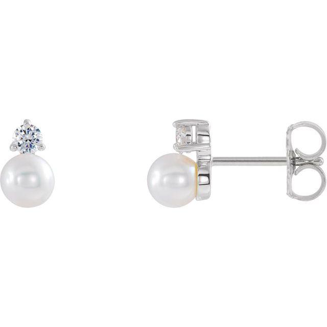 14K White Freshwater Cultured Pearl & 1/8 CTW Diamond Earrings