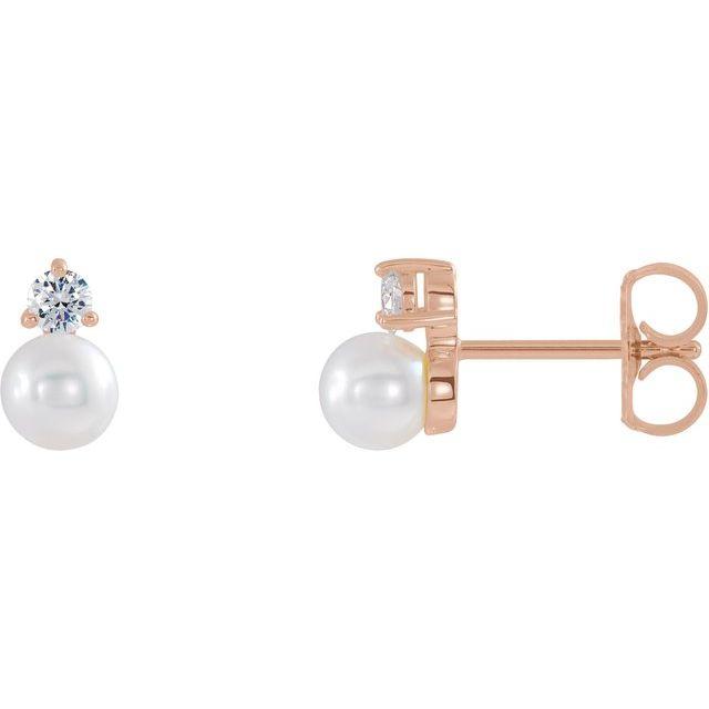 14K Rose Freshwater Cultured Pearl & 1/8 CTW Diamond Earrings
