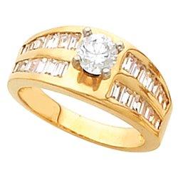 Zásnubný prsteň neosadený s postrannými kameňmi Baguette a obrúčka