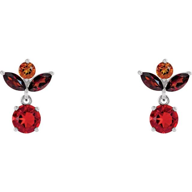 14K White Multi-Gemstone Earrings