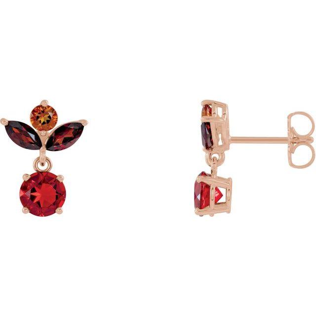 14K Rose Multi-Gemstone Earrings