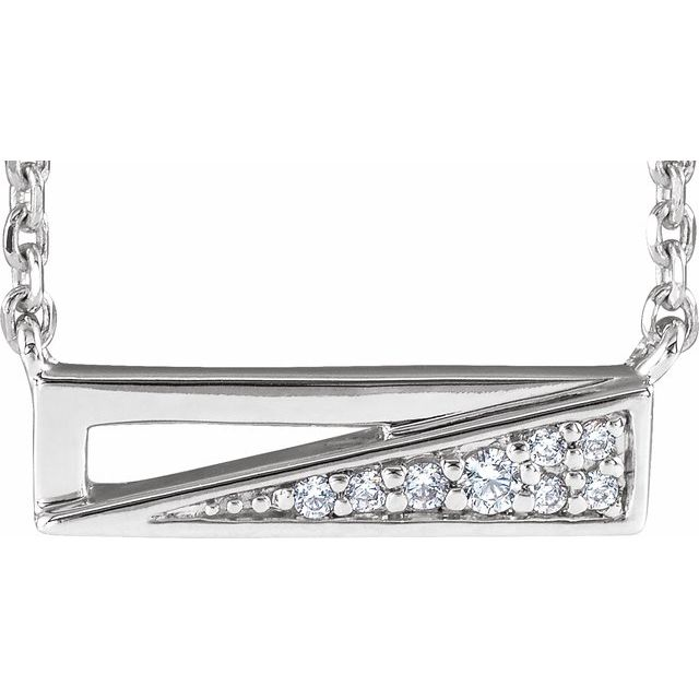 14K White .05 CTW Diamond Bar 18