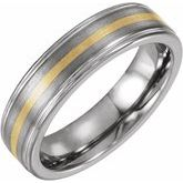 Tungsten Ridged Band with Inlay