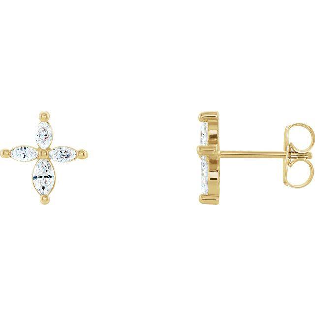 14K Yellow 1/3 CTW Diamond Cross Earrings
