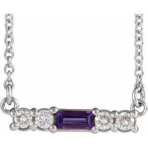 "14K White Amethyst & 1/5 CTW Diamond 18"" Necklace"