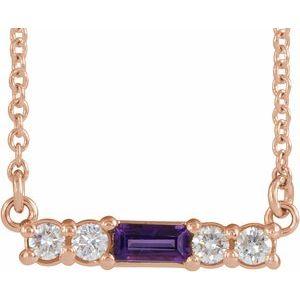 "14K Rose Amethyst & 1/5 CTW Diamond 18"" Necklace"
