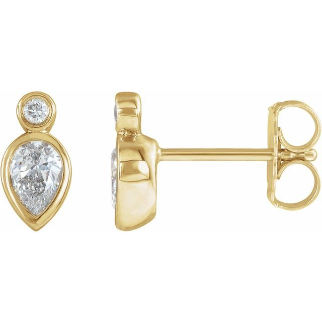 14K Yellow 1/3 CTW Diamond Bezel-Set Earrings
