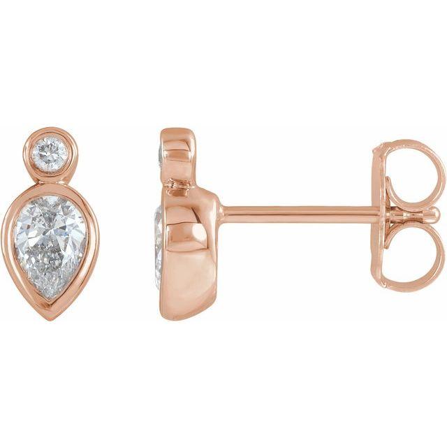 14K Rose 1/3 CTW Diamond Bezel-Set Earrings