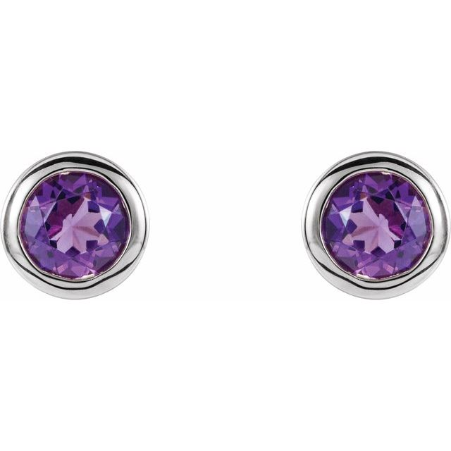 Rhodium-Plated Sterling Silver 4 mm Round Imitation Amethyst Birthstone Earrings