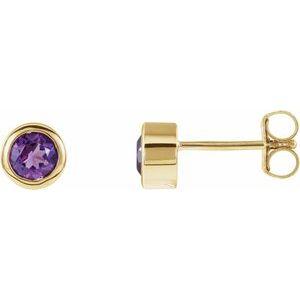 14K Yellow 4 mm Round Genuine Amethyst Birthstone Earrings