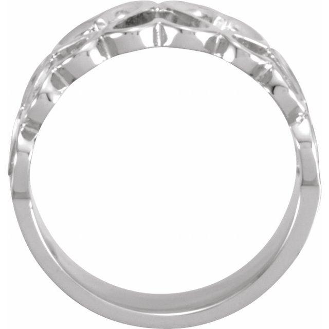 14K White 10 mm Heart Design Band