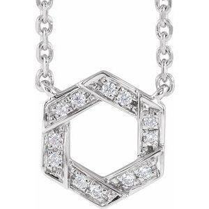 "14K White .06 CTW Diamond Geometric 16-18"" Necklace"