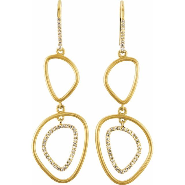 14K Yellow 3/8 CTW Diamond Open Silhouette Earrings