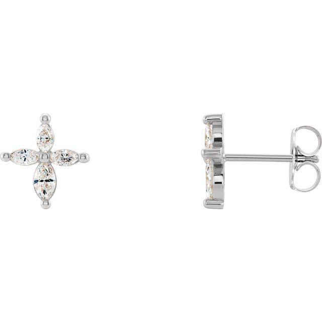14K White 1/3 CTW Diamond Cross Earrings