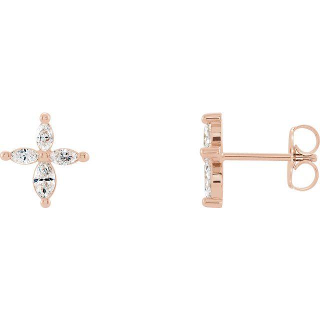 14K Rose 1/3 CTW Diamond Cross Earrings