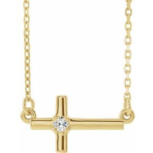 "14K Yellow .03 CTW Diamond Sideways Cross 16-18"" Necklace"
