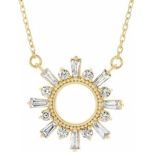 "14K Yellow 3/8 CTW Diamond Circle 18"" Necklace"