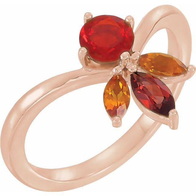 14K Rose Natural Mexican Fire Opal, Natural Mozambique Garnet & Natural Citrine Ring