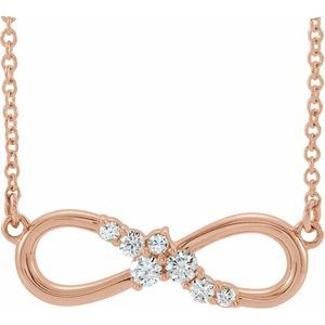 "14K Rose 1/8 CTW Diamond Infinity-Inspired Bar 16"" Necklace"