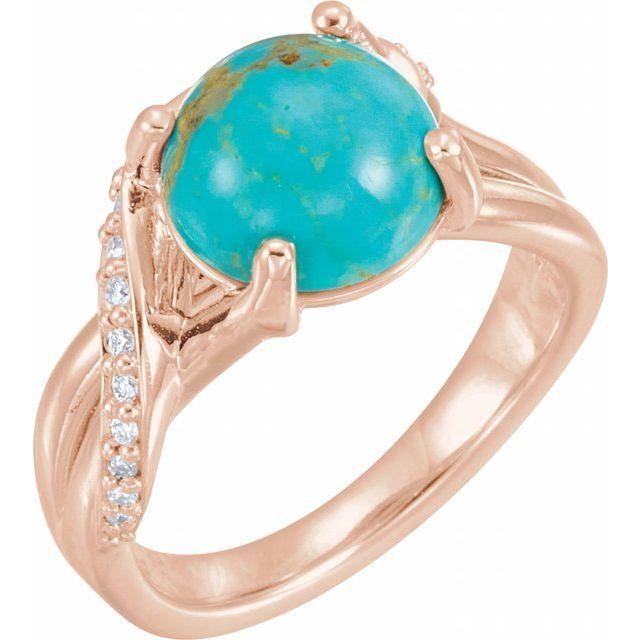 14K Rose Turquoise & 1/6 CTW Diamond Ring