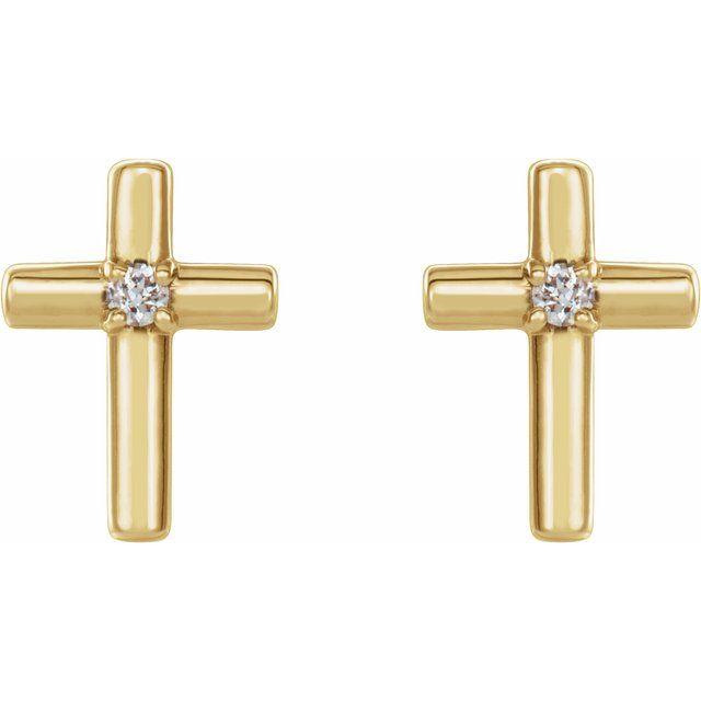 14K Yellow .01 CTW Diamond Cross Earrings