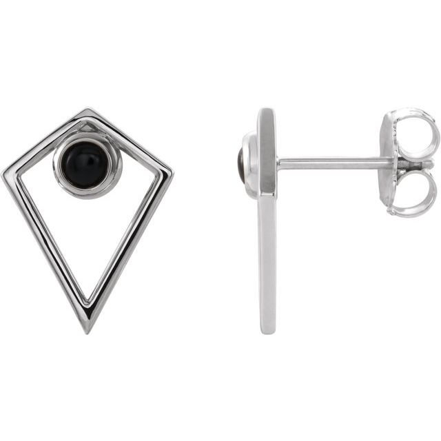Sterling Silver Onyx Cabochon Pyramid Earrings
