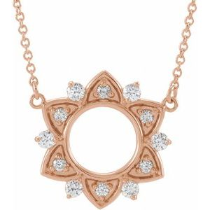 """14K Rose 1/3 CTW Diamond Accented 16"""" Necklace"""