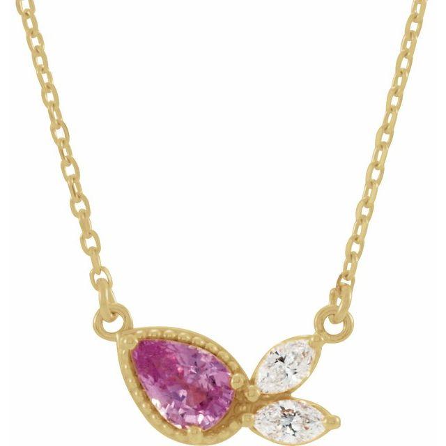 14K Yellow Pink Sapphire & 1/6 CTW Diamond 16