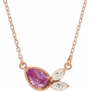 "14K Rose Pink Sapphire & 1/6 CTW Diamond 18"" Necklace"