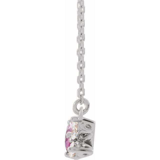 14K White Pink Sapphire & 1/6 CTW Diamond 16