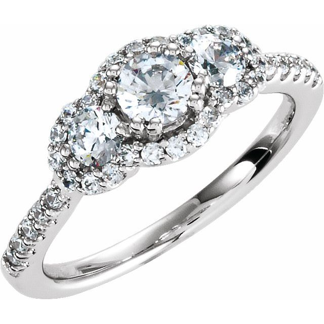 Sterling Silver 4.4 mm Round Cubic Zirconia Three-Stone Halo-Style Ring Size 6