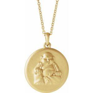 """14K Yellow Buddha 16-18"""" Necklace"""