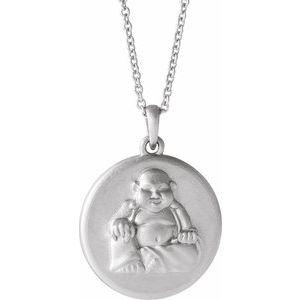 """14K White Buddha 16-18"""" Necklace"""
