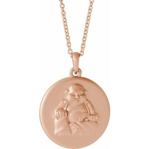 "14K Rose Buddha 16-18"" Necklace"