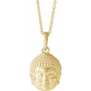 "14K Yellow 14.7x10.5 mm Meditation Buddha 16-18"" Necklace"