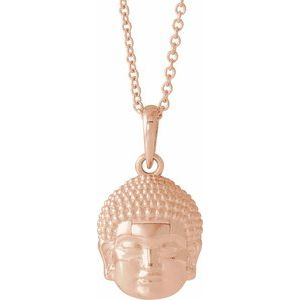 "14K Rose 14.7x10.5 mm Meditation Buddha 16-18"" Necklace"