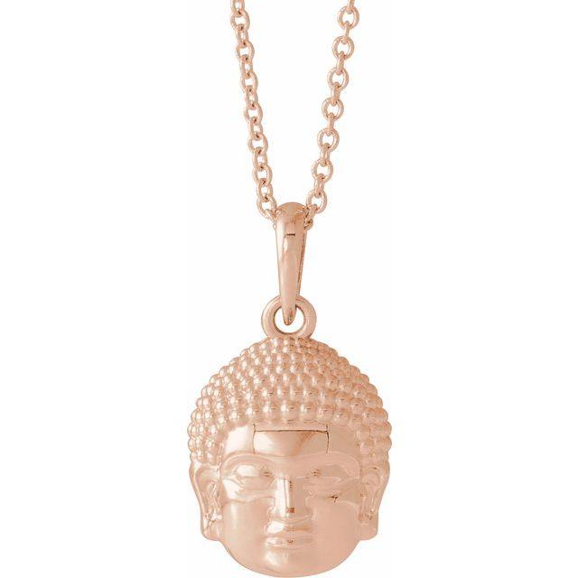 14K Rose 14.7x10.5 mm Meditation Buddha 16-18